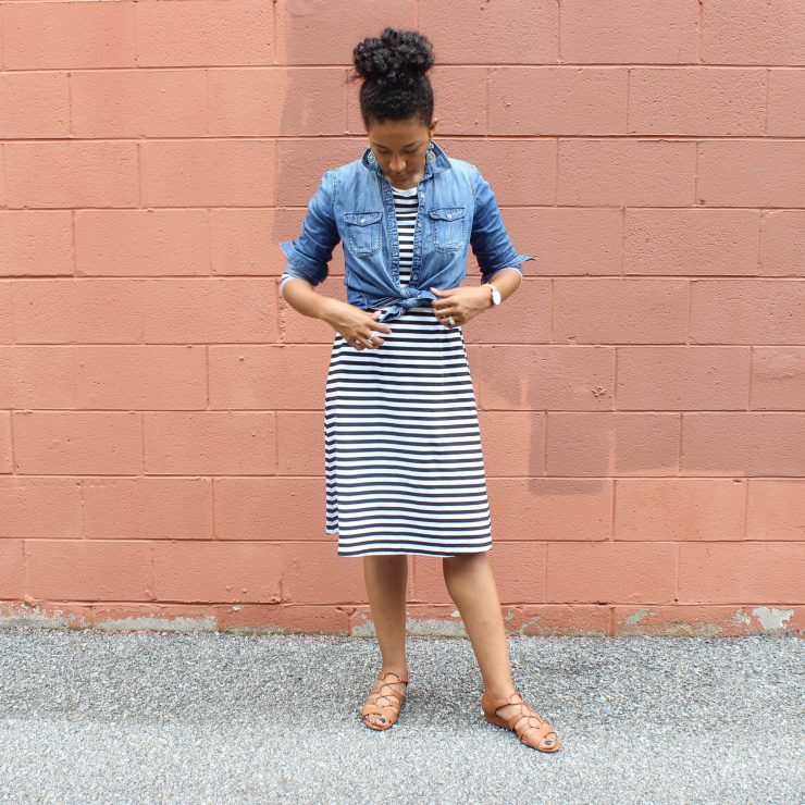 Striped Dress with Denim Shirt-1669