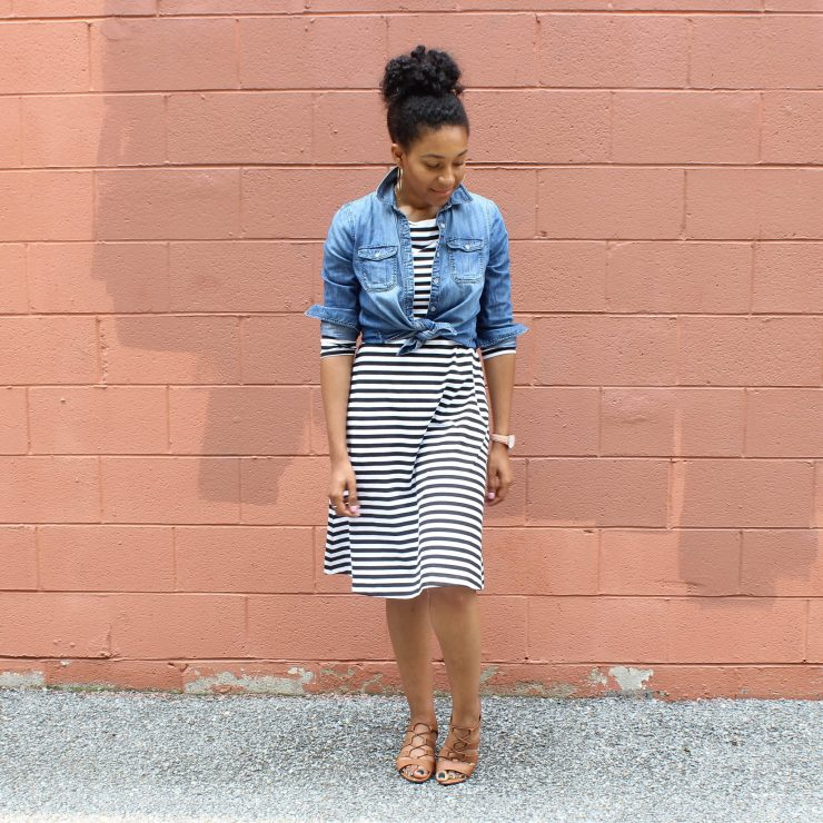 Striped Dress with Denim Shirt-1753