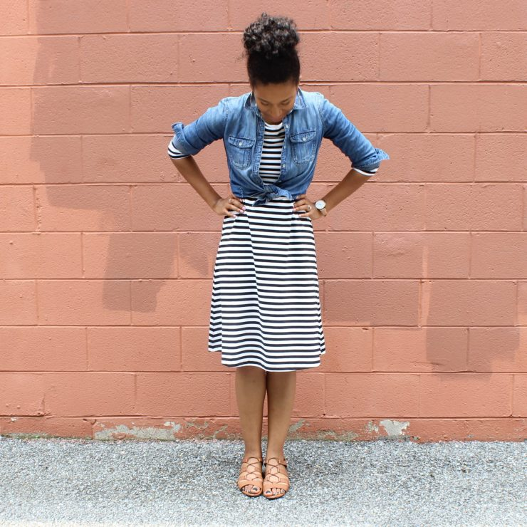 Striped Dress with Denim Shirt-1761