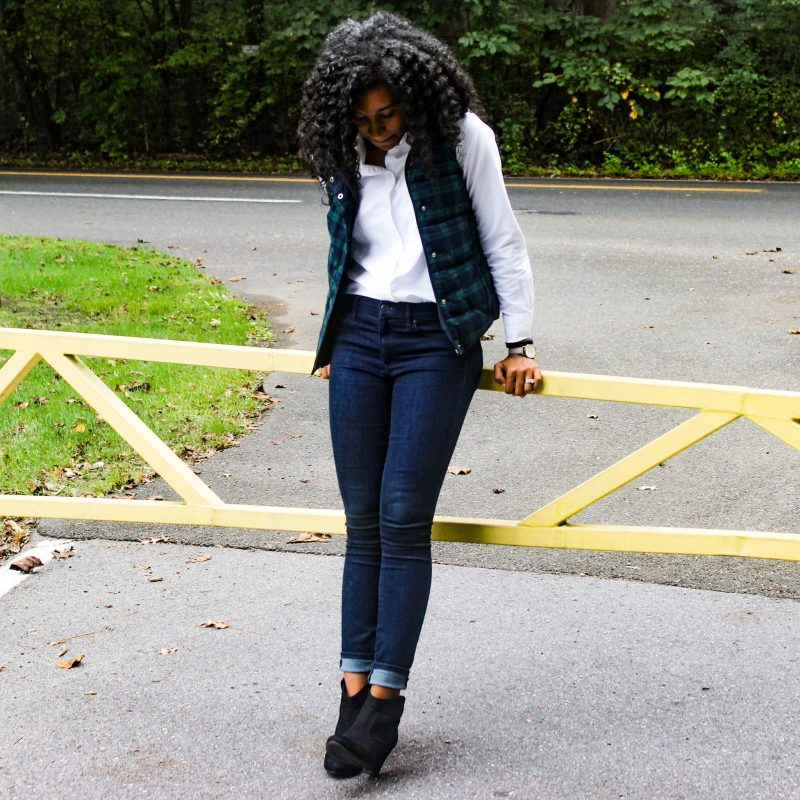 Old Navy Plaid Vest with White J-Crew Oxford-3