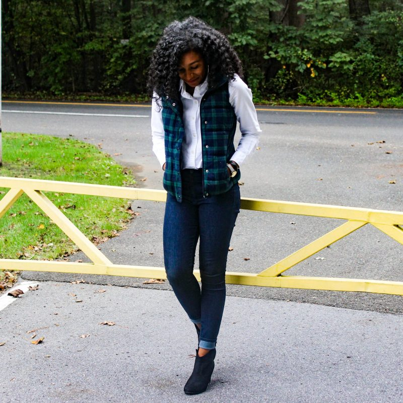Old Navy Plaid Vest with White J-Crew Oxford-5
