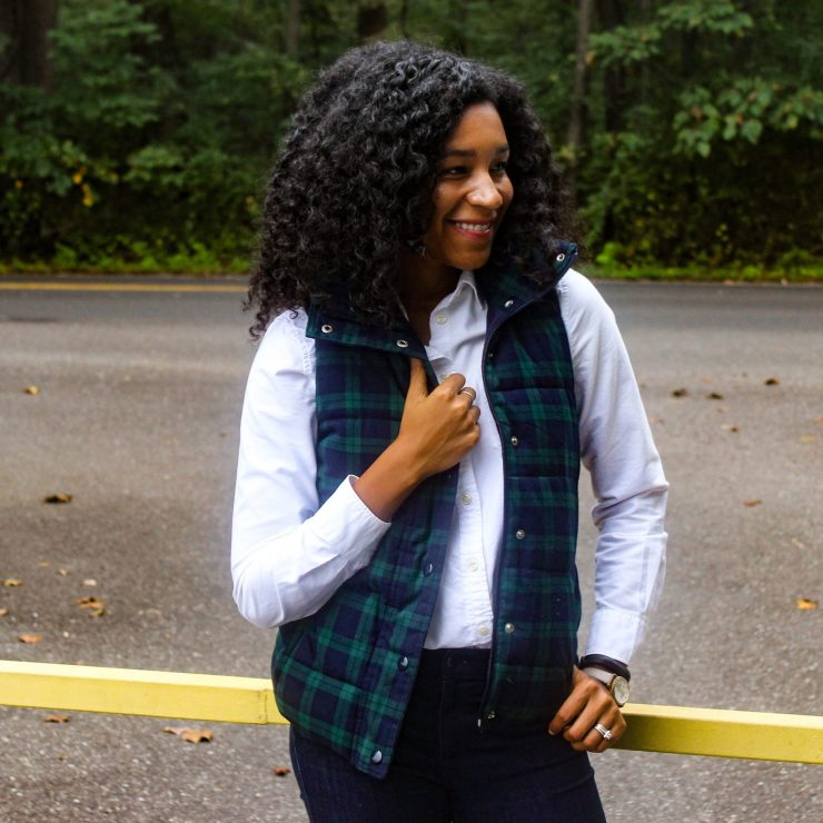 Old Navy Plaid Vest with White J-Crew Oxford-9