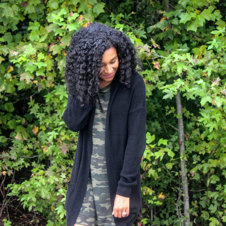 TJ Maxx Camo Shirt Dress with Black Long Line Cardigan-11