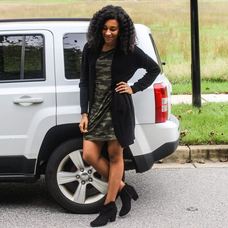 TJ Maxx Camo Shirt Dress with Black Long Line Cardigan-2
