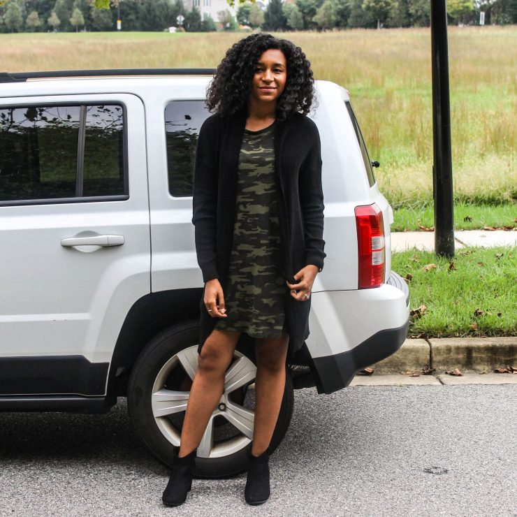 TJ Maxx Camo Shirt Dress with Black Long Line Cardigan-3