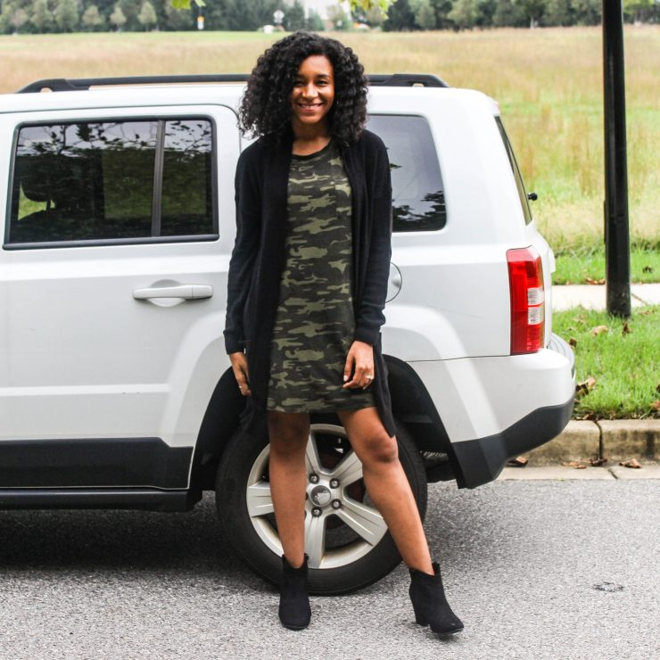 TJ Maxx Camo Shirt Dress with Black Long Line Cardigan-7
