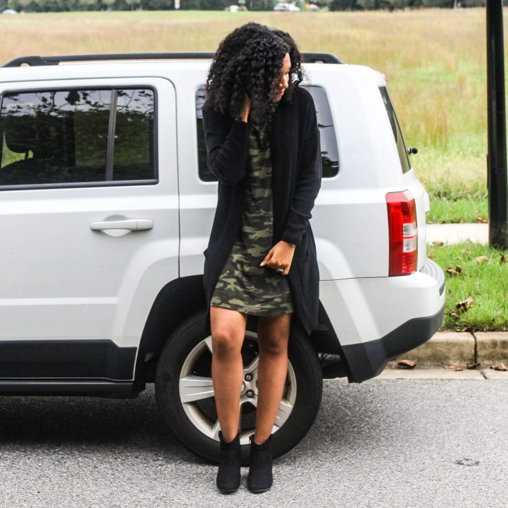 TJ Maxx Camo Shirt Dress with Black Long Line Cardigan
