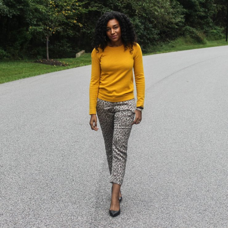 Yellow Sweater with Leopard Pants-4054