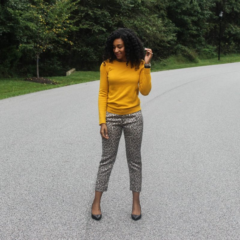 Yellow Sweater with Leopard Pants-4072