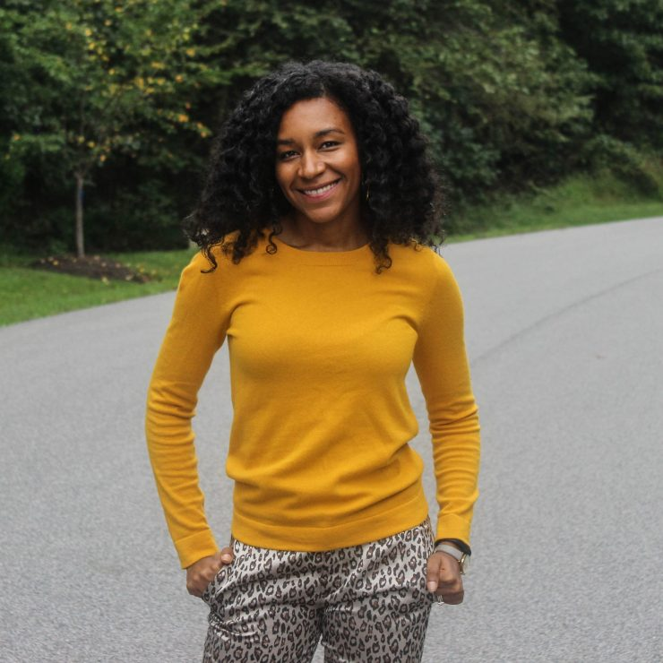 Yellow Sweater with Leopard Pants-4106