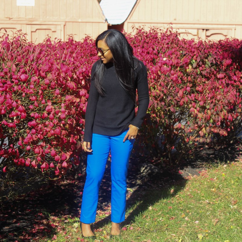 Black Old Navy Sweater Blue Express Pants-3