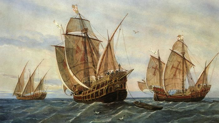 une-peinture-representant-la-pinta-la-santa-maria-et-la-nina-the-art-archive-museo-de-la-torre-del-oro-seville-gianni-dagli-orti