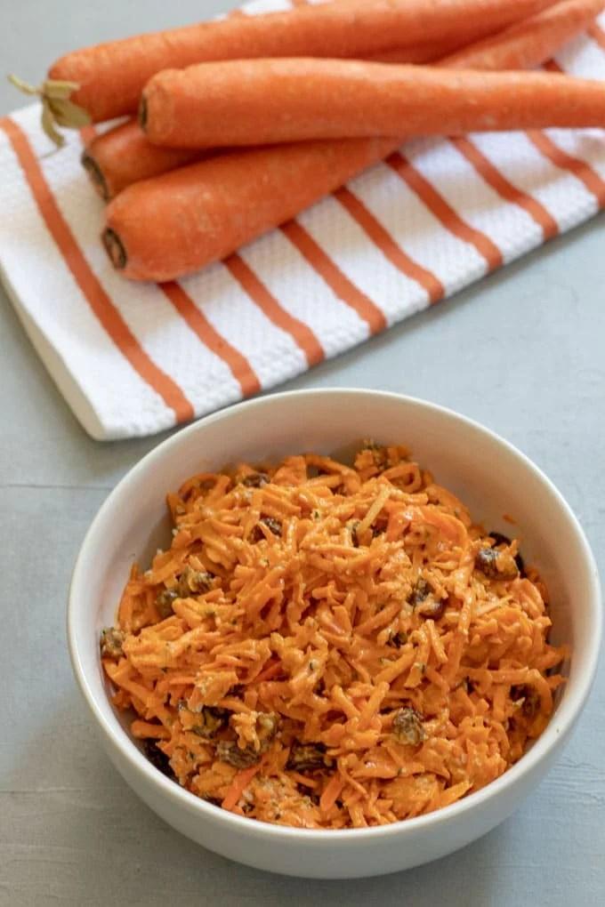 Carrot Raisin Salad with Tahini and Sriracha
