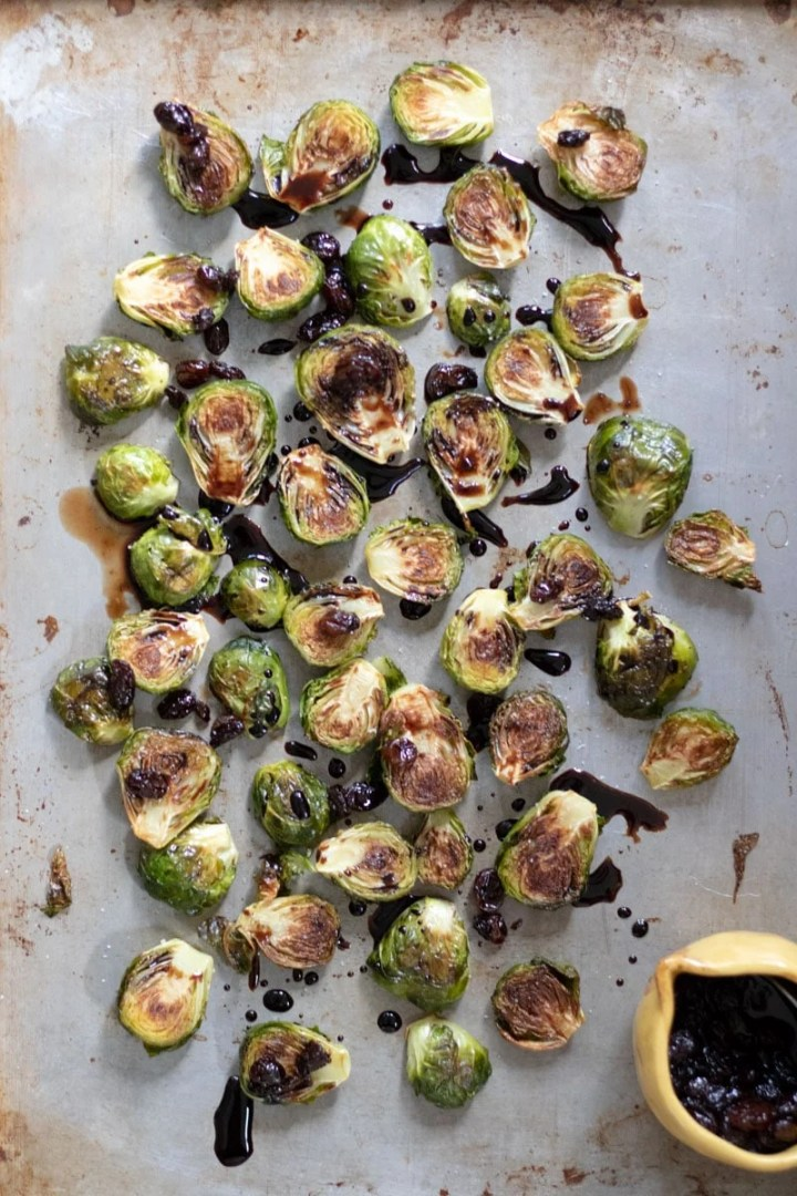 Brussels Sprouts drizzled with Balsamic Glaze