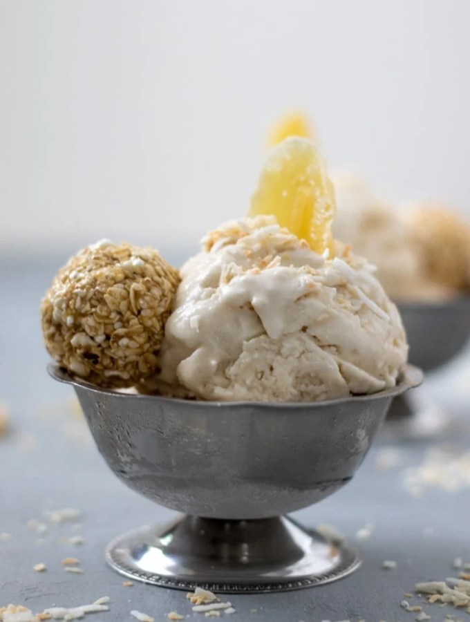 Double Coconut Ginger Ice Cream in silver serving dish