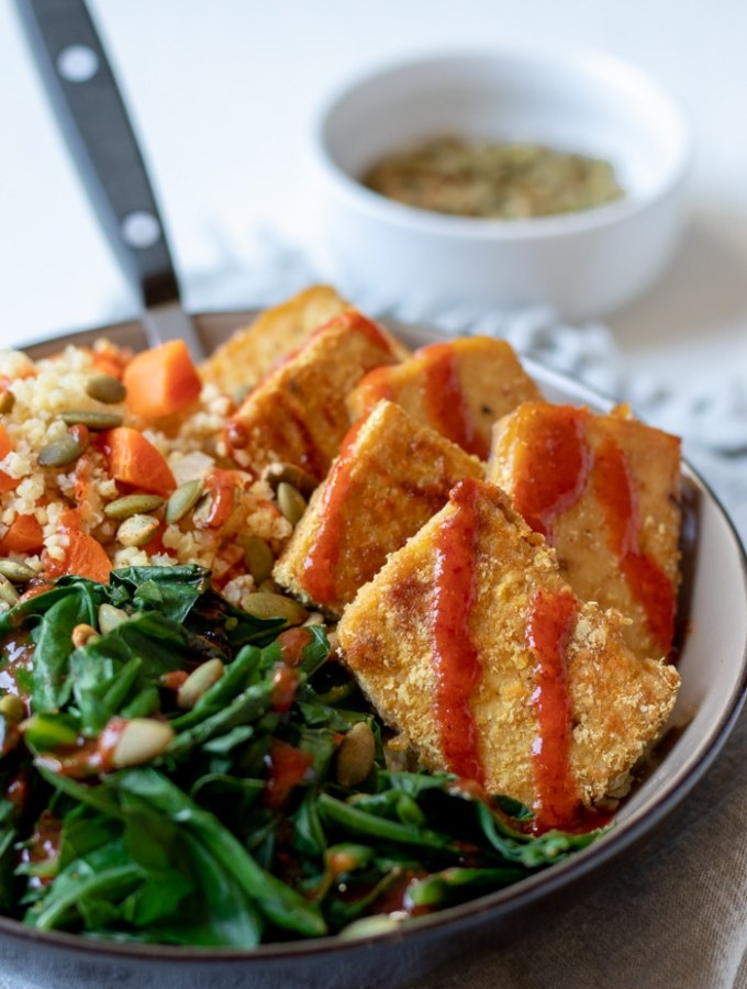 Sweet Mustard Tofu with Millet Pilaf and Greens