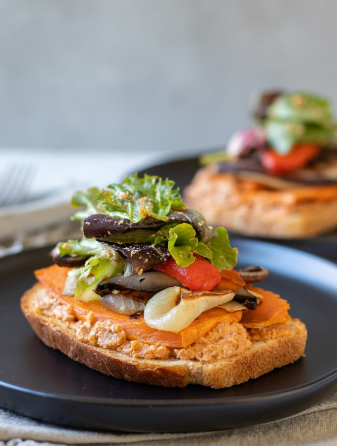 Roasted Veg Sandwiches With Smoky Walnut Sauce