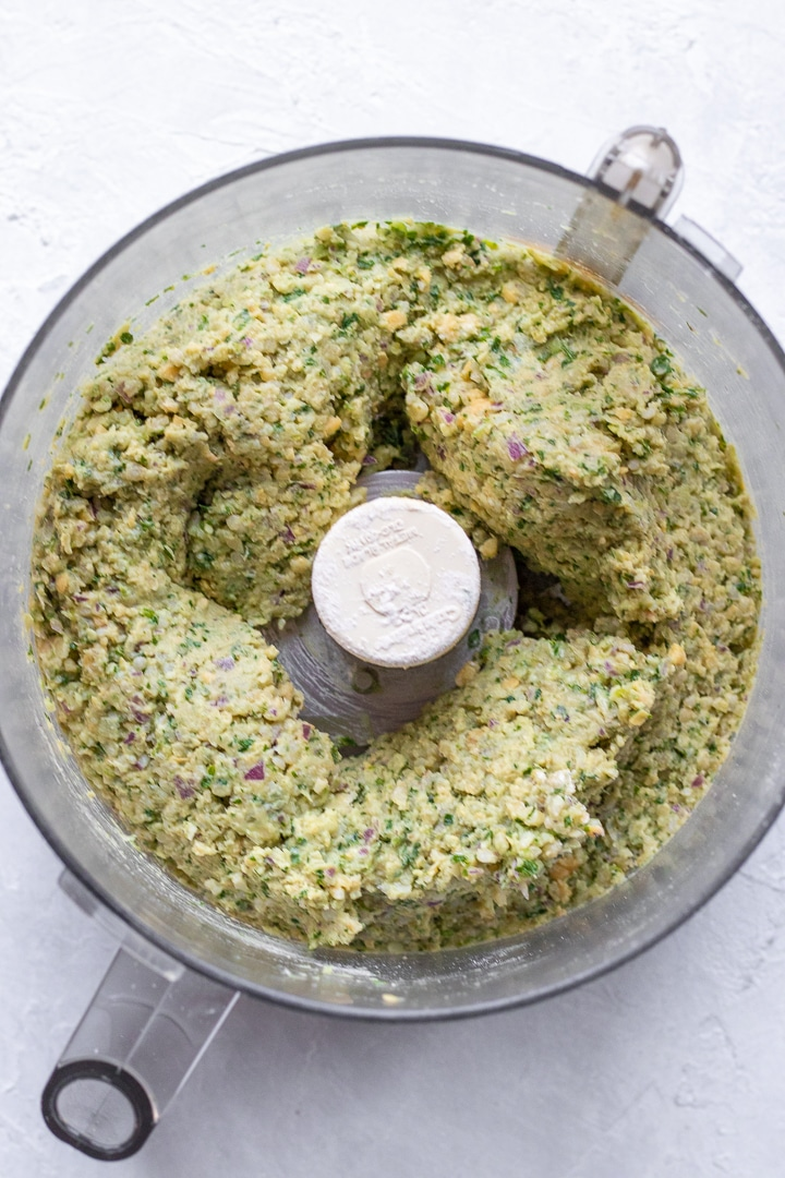 Tabbouleh burger ingredients blended and ready to be formed into patties