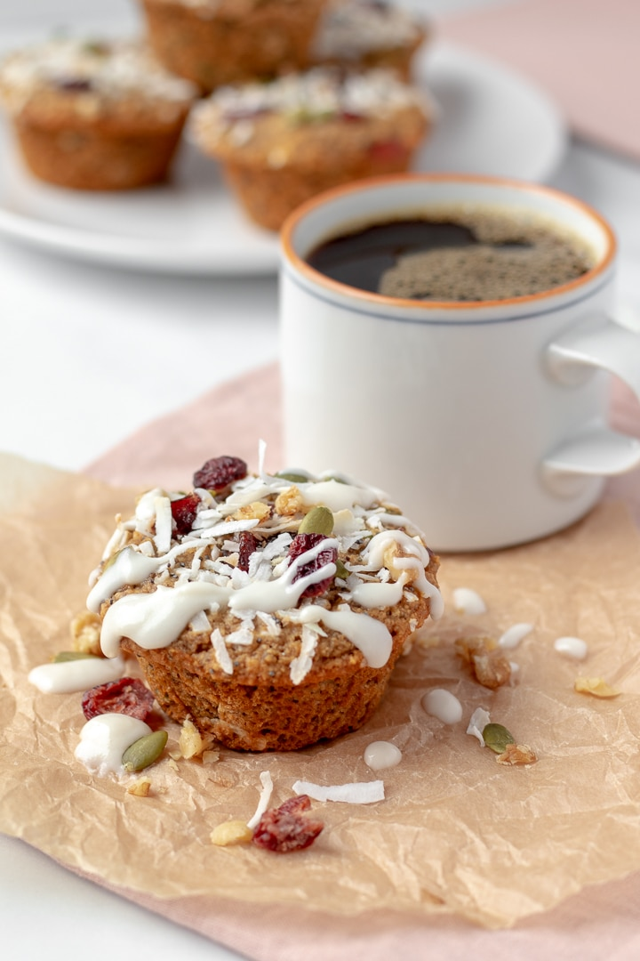 Loaded Breakfast Muffin and a cup of black coffee