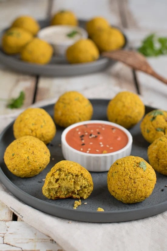baked falafel on a serving tray