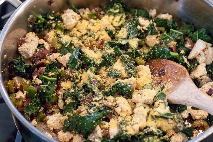 Sautéing vegetables for Cajun Tofu Scramble