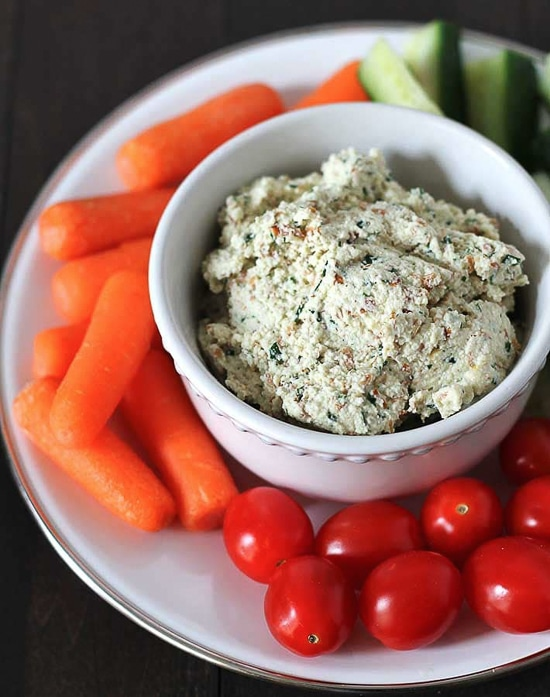vegan almond cheese spread with herbs