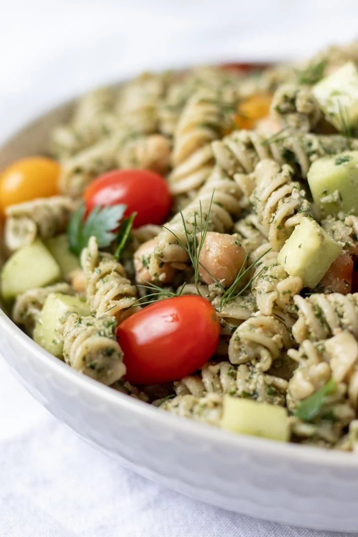 close up of Parsley-Dill Pesto Pasta Salad