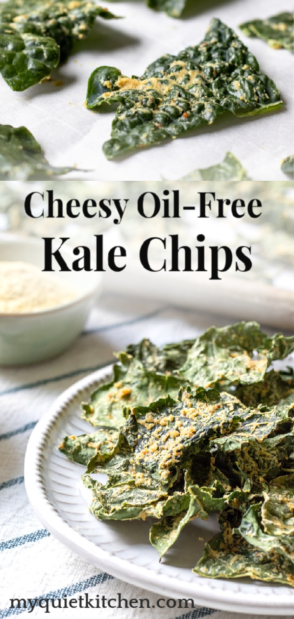 Cheesy Oil-Free Kale Chips pin for Pinterest