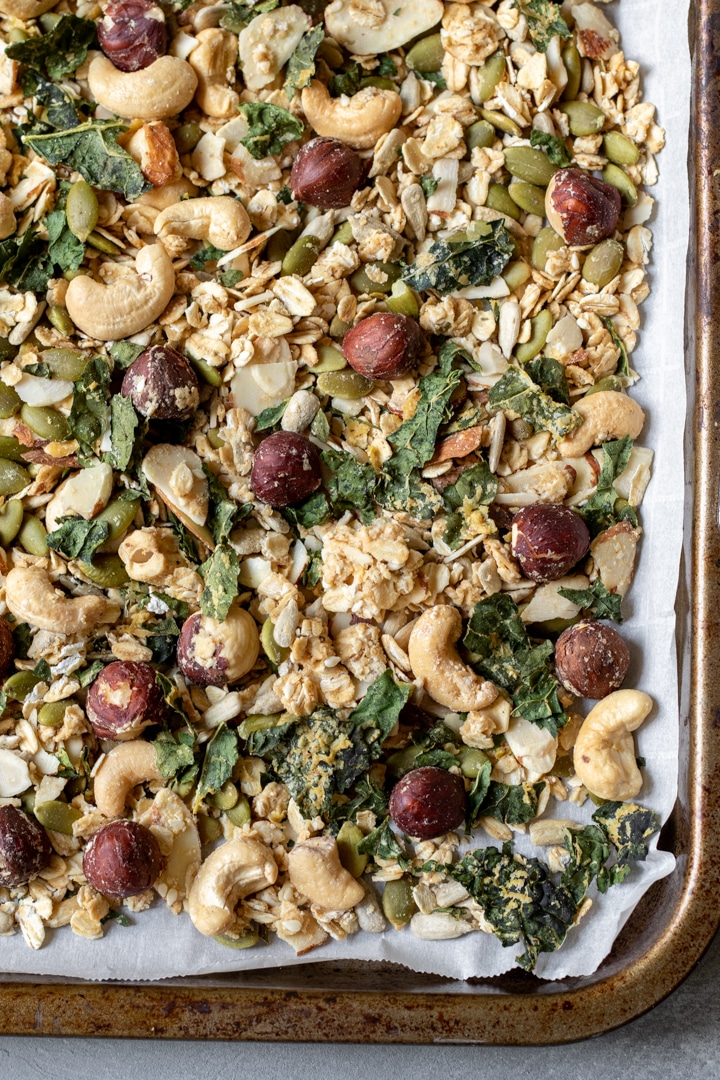 Savory Granola on a baking sheet
