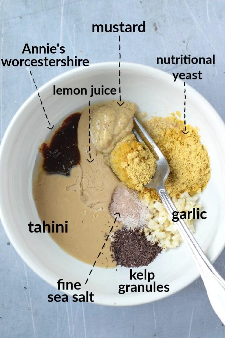 Vegan Caesar Ingredients in a bowl