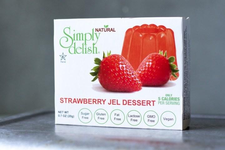a box of Simply Delish vegan strawberry jello