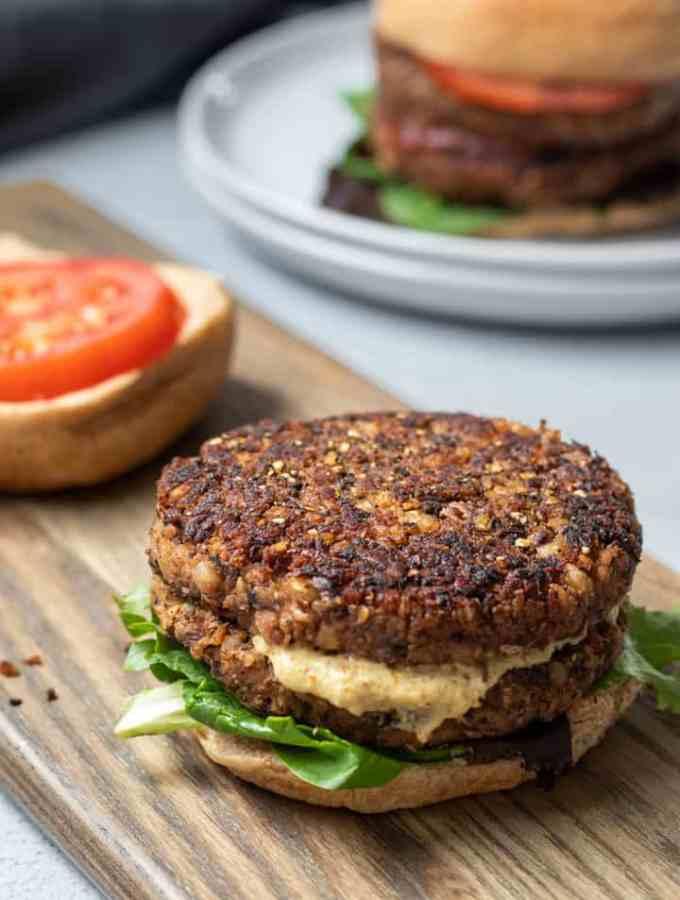 open-face mushroom-barley burger