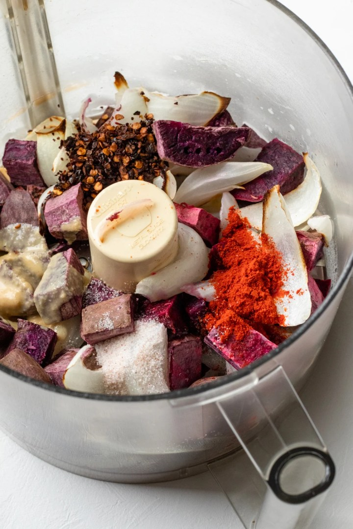ingredients for purple sweet potato dip in food processor bowl