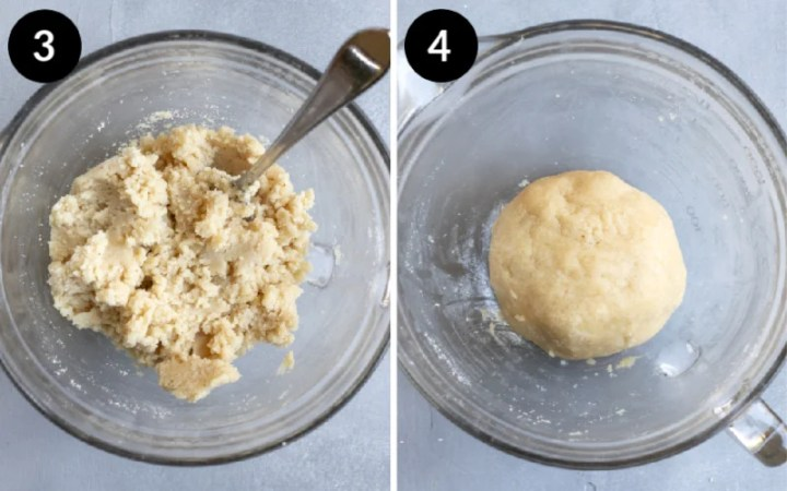 Collage showing steps 3 and 4 combining ingredients for vegan pie crust