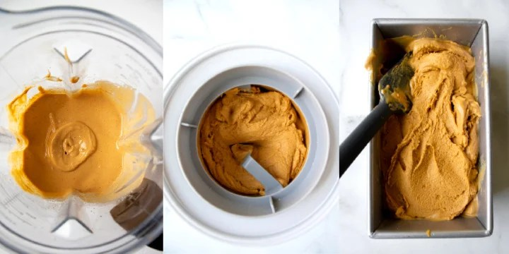 collage showing blending, churning, and freezing the ice cream