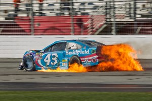 February 28 2016: Aric Almirola's car erupts in flames at the conclusion of the Folds of Honor QuikTrip 500 NASCAR Sprint Cup Series race at Atlanta Motor Speedway in Hampton, GA. (Photo by Stephen Furst/Myracenews.com)
