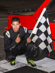 Jordan Hadley wins his first career ministock race at the New London-Waterford Speedbowl in Waterford, CT. (Photo by Stephen Furst/Myracenews.com)