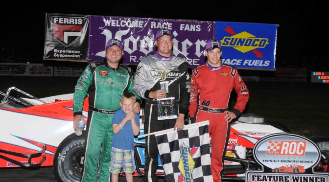 Mike Leaty Drives to Ferris Mowers Race of Champions Asphalt Modified Series fueled by Sunoco Win in Apple Country '75' at Spencer Speedway