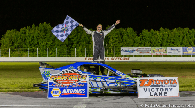 Randy Brunelle Wins the Caskinette Ford Modified Feature at Evans Mills Speedway