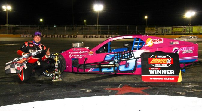 CJ LEHMANN LEADS ALL BUT FIRST LAP IN ROUTE TO RIVERHEAD RACEWAY NASCAR MODIFIED VICTORY