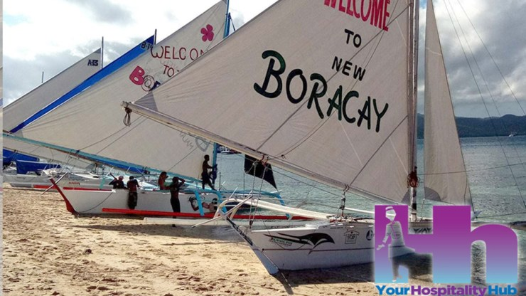 Paraws line Cagban beach on opening day Boracay 2018