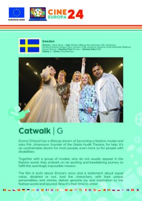 Poster giving synopsis for the European film Catwalk, an entry in the Cine Europa 24 Film Festival