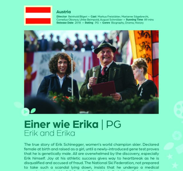 Poster giving synopsis for the European film Einer wie Erika (Erik and Erika) an entry in the Cine Europa 24 Film Festival