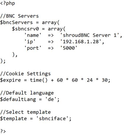 settings.php des shroudBNC Webinterfaces