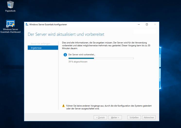 Windows Server 2016 Essentials: Die Konfiguration bleibt bei 39% stehen