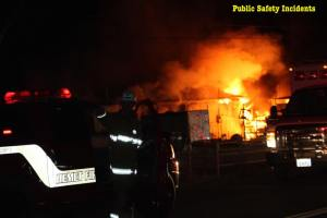 Firefighters found a horse barn and shed on fire when the arrived. Robert Carter photo