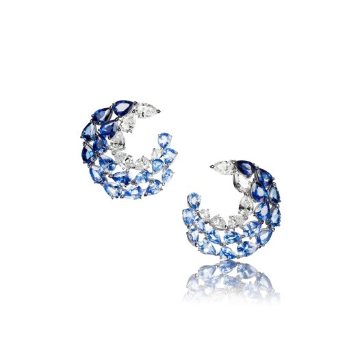 """Earrings """"L'Oiseau bleu"""" in 18kt white gold set with 34 pear-shaped sapphires 18.92 cts and 12 pear-shaped diamonds 4.89 cts"""