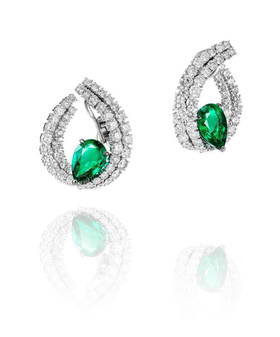 """Earrings """"Le Printemps"""" in 18kt white gold set with 2 pear-shaped emeralds 5.91 cts and 5.65 cts, and 98 diamonds 13.27 cts"""
