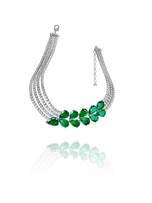 """Necklace """"Le Printemps"""" in 18kt white gold set with 11 pear-shaped emeralds 62.79 cts and 395 diamonds 61.93 ctss"""