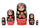 "Khokhloma Russian Nesting Doll 5pc./4"" by Golden Cockerel"